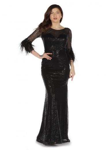 Pierre Cardin Simli Kolları Tüylü Balık Abiye Elbise Siyah